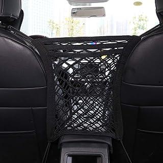 lorelo 2 Pieces Car Mesh Organizer, 3 Lays Seat Back Net Bag Pet Car Net Barrier Pets Kids Barrier Disturb Stopper