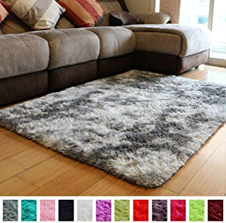 PAGISOFE Moderns Abstract Area Rugs Mats Decor Colors Rug for Bedroom Living Room Nursery Floor Fluffy Shag Rug Plush Fuzzy Shaggy Rugs (Gray and White), Multi Colored Accent Fur Rug Carpet (5' x 4')