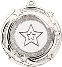 Lapal Dimension Star Cyclone Medal (1in Centre) - Zilver - 2in