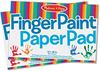 """Melissa & Doug Finger-Paint Paper Pad 2-Pack, Arts & Crafts, Top-Bound Pads, Glossy Paper, Nonabsorbent, 50 Sheets Each, 17"""" H x 12"""" W x 0.25"""" L"""