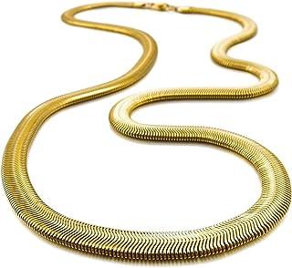 SODIAL(R) Catenina Uomo Acciaio Inossidabile Collana A Spina di Pesce Snake Serpente Catena Catenina Collegamento d'oro Pu...