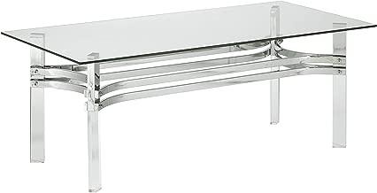 Signature Design by Ashley T420-1 Braddoni Rectangular Cocktail Table, Chrome Finish