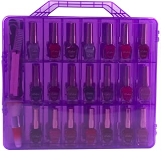 Zoostliss Universal Clear Nail Polish Organizer Storage Case for 48 Bottles Adjustable Dividers Space Saver Transparent Purple
