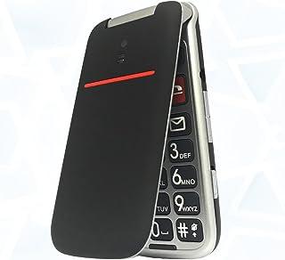 Teléfono Móvil para Personas Mayores Teclas Grandes con Tapa Pantalla de 24 Pulgadas Tecla de Emergencia Botón SOS Cámara Fácil de Usar para Ancianos Artfone Flip CF241A Negro