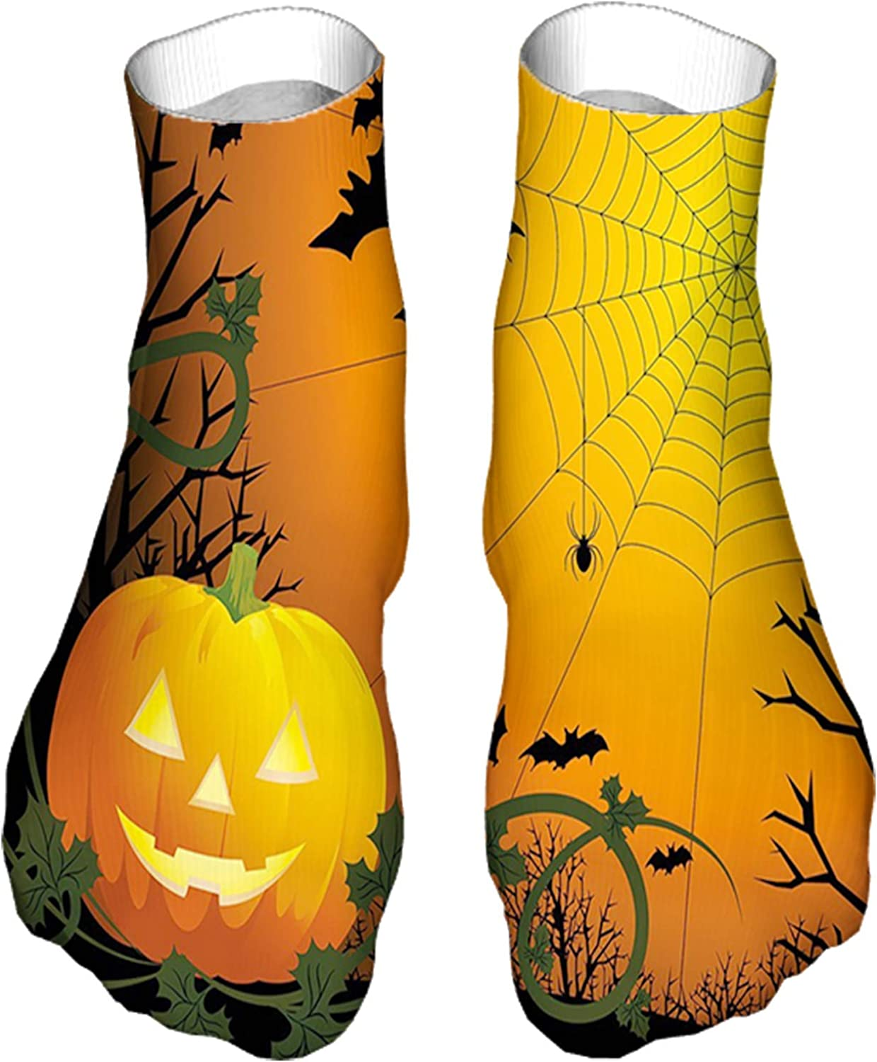 Men's and Women's Funny Casual Socks Halloween Themed Composition with Pumpkin Leaves Trees Web