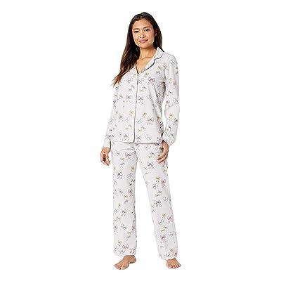 BedHead Pajamas Long Sleeve Classic Notch Collar Pajama Set (All Tied Up) Women