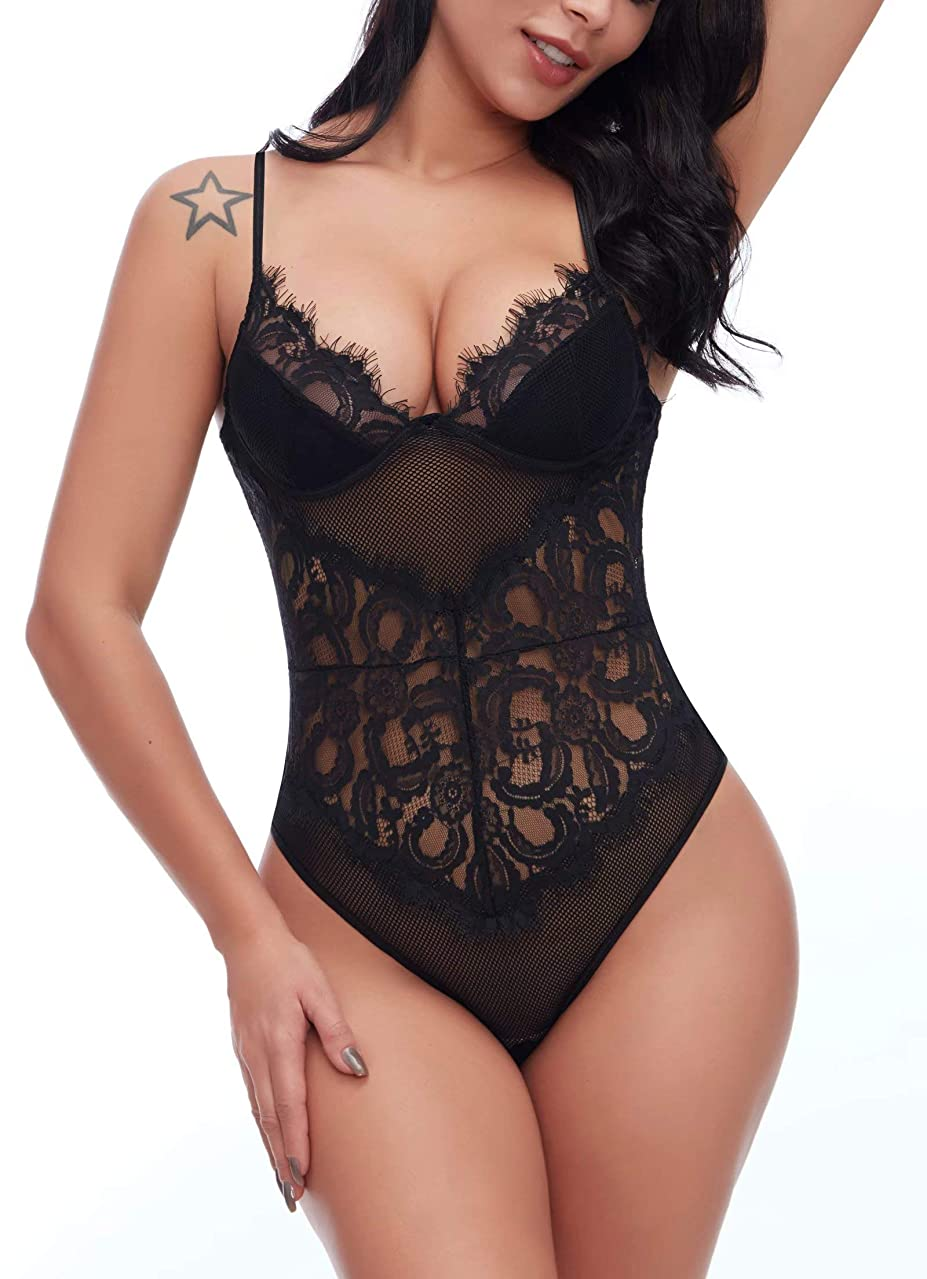 Ruzishun Women Sexy See Through Party Bodysuit One Piece Floral Teddy Lingerie