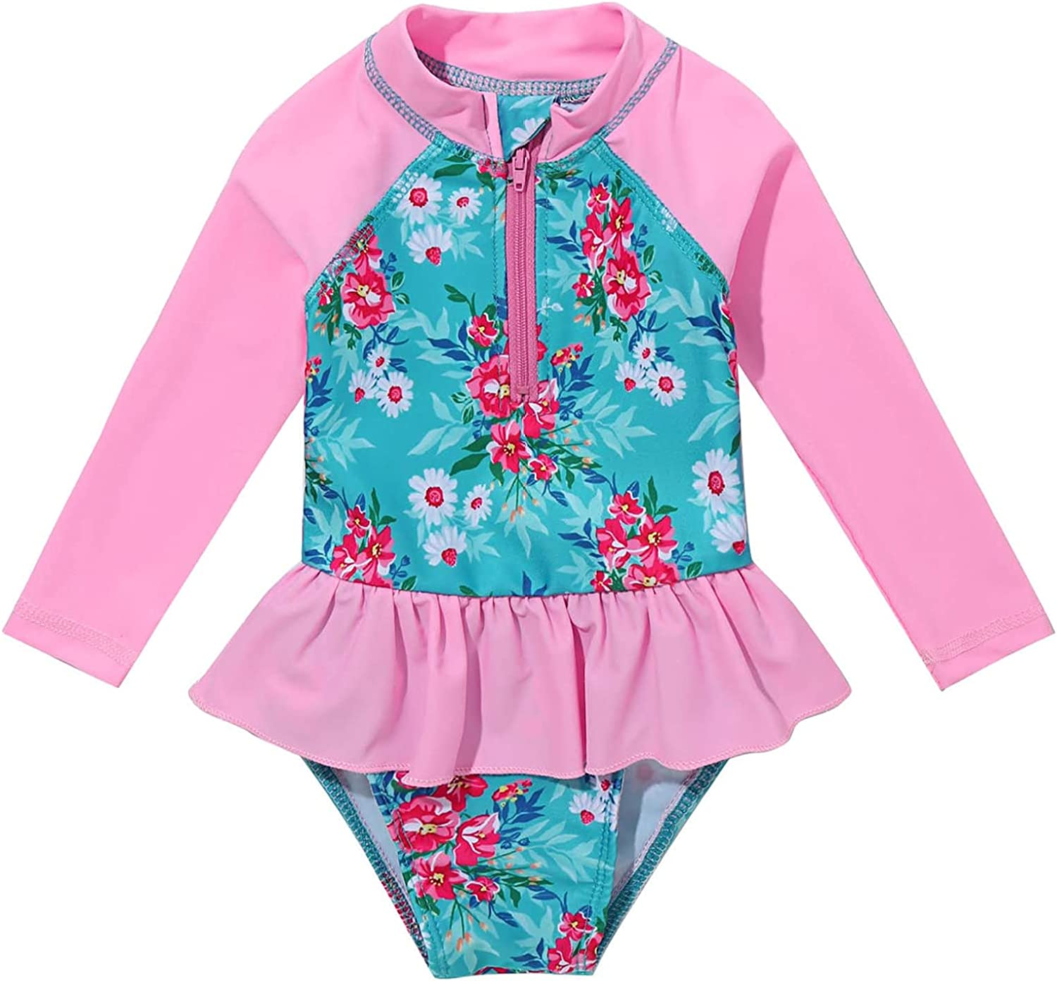 favorite Choomomo Infant Limited price Baby Girls Long Pie Ruffled Swimsuits Sleeve One
