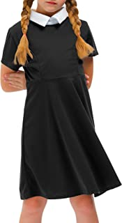 Girl's Peter Pan Collar Flare Dress Short Sleeve Casual...