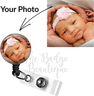 Custom Photo Retractable ID Badge Reel, Swivel Alligator Clip, 34in. Nylon Cord, Personalized ID, Medical MD RN Nurse Badge ID, Badge Holder, ID Badge Pull, Office Employee Name Tag, Stocking Stuffer