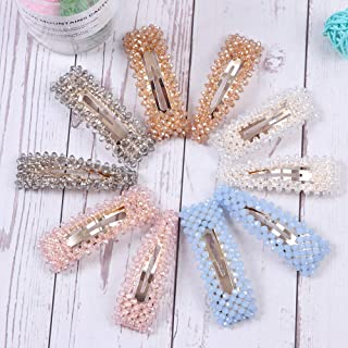 10 PCS Rhinestone Hair Clips for Women and Ladies Shining Crystal Snap Clips Different Color Rhinestone Hair Pins Hair Barrettes for Party Wedding Daily Hair Decorative