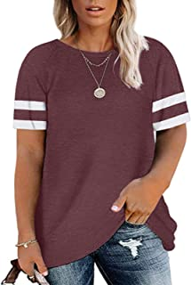 LAYFAY Plus Size Tops for Women Casual Short Sleeve...