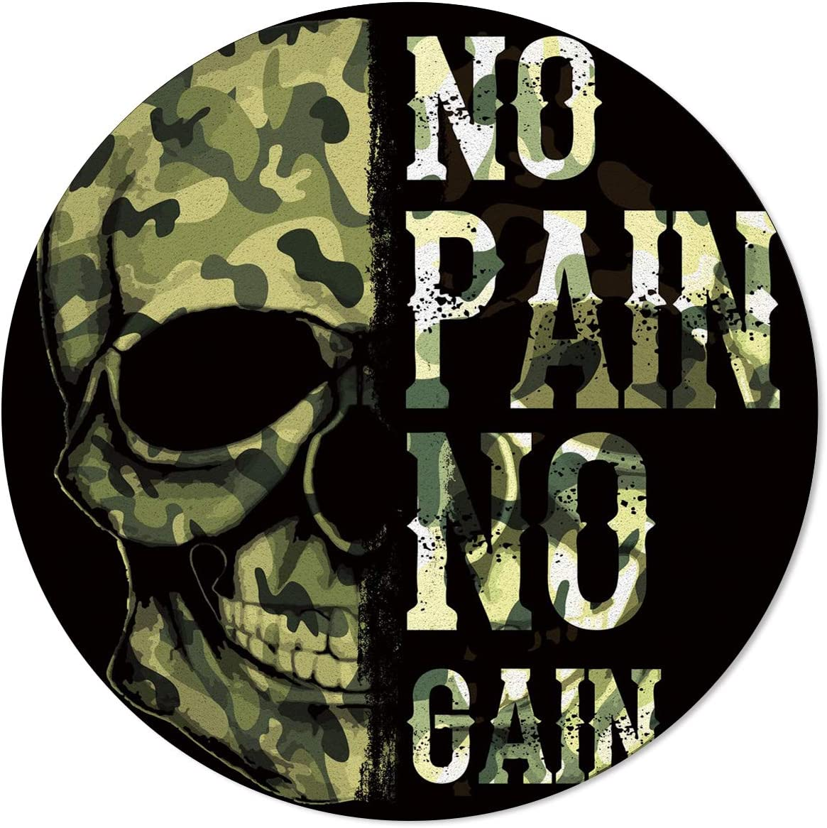 Luxury OneHoney Round Area Rugs 5ft In Detroit Mall Skull Camouflage Military Green