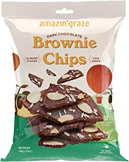 Amazin' Graze Dark Chocolate Brownie Chips 140g - Healthy Crispy Chocolate Snack with Almond Flakes, Chia Seed and Coconut...