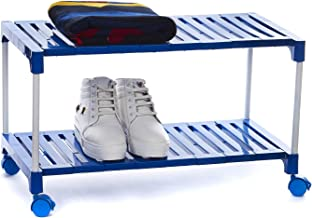Dhani Creations Lightweight Multipurpose Rack for Shoes, Clothes, Bookes & Utility Rack with Wheel (2 Shelves, Blue)