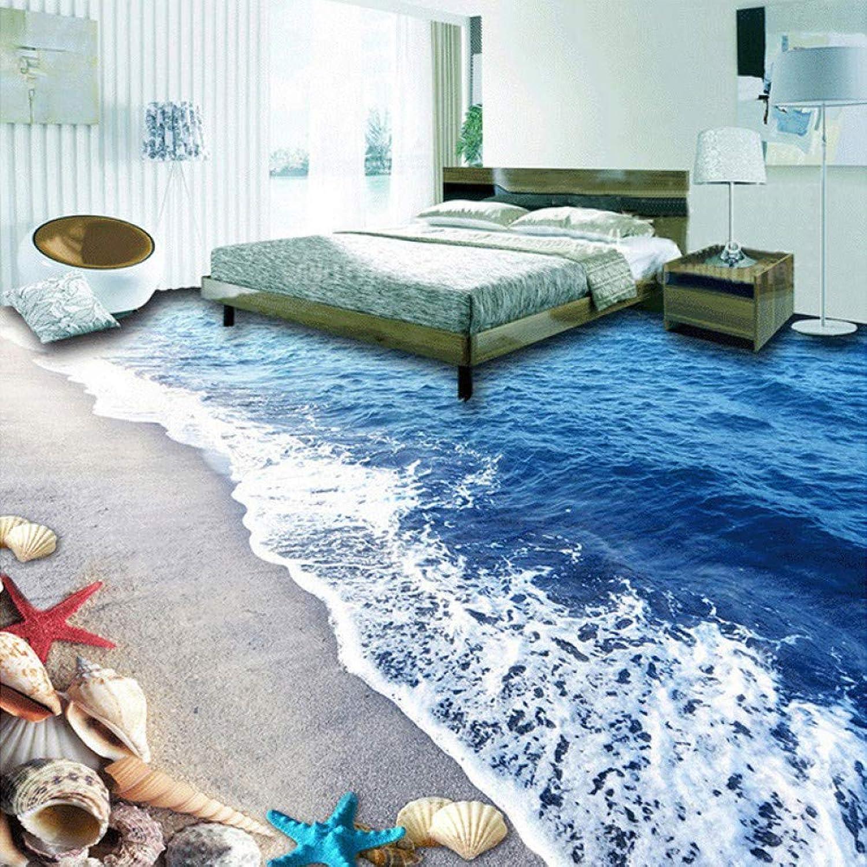 autorización ACYKM ACYKM ACYKM Papel tapiz de suelo personalizado Playa de 3D Conchas de arena Sala de estar Dormitorio Bao Piso PVC Autoadhesivo Mural de parojo impermeable Papel tapiz-200x140cm  precio razonable
