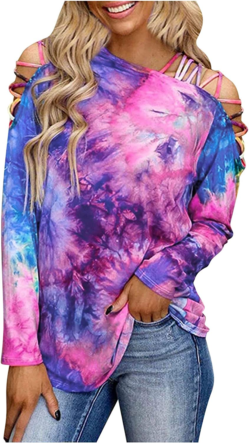 Lsilina Women's Tie Dye Print Tunic Top V-Neck T-Shirt Casual Blouse Summer Tunic Loose Tees Long Sleeve Cold Shoulder