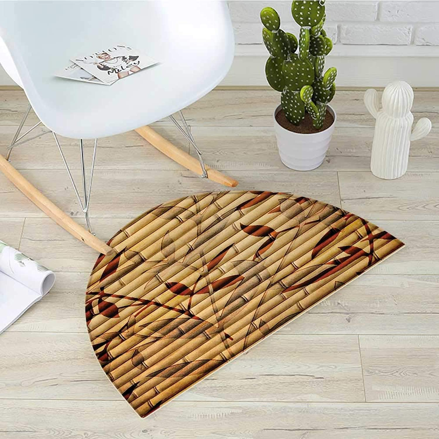 Beige Half Round Door mats Bamboo Stems and Leaf Figures Over It Spiritual Asian Elements Bohemian Print Bathroom Mat H 31.5  xD 47.2  Brown Tan Beige