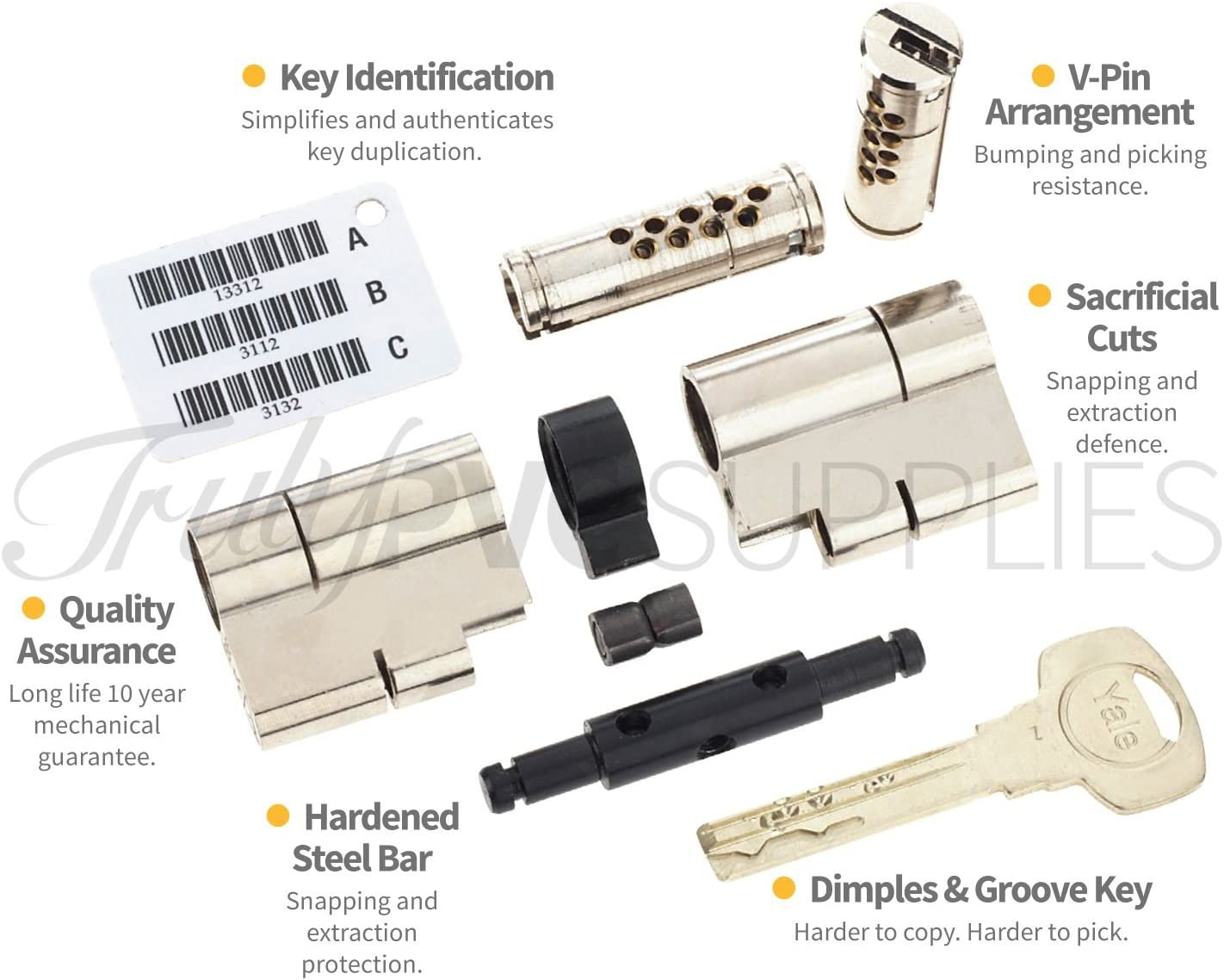 Anti Snap Pick Bump Polished Brass YALE Superior Thumbturn Euro Cylinder with 3 Keys 45//35 Pull High Security uPVC Composite Door Barrel Profile Twist Thumb Turn Lock 80mm Drill