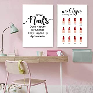 Muur Canvas Schilderij Nail Citaat Print Nageltypes Manicure Make-up Poster Manicure Gift Nagel Schoonheid Meisjes Kamer D...