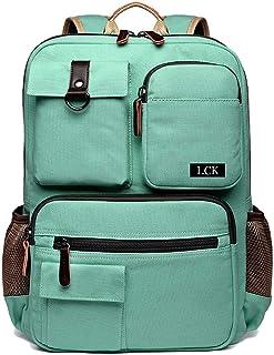LCK School Backpack Vintage Canvas Laptop Backpacks Men Women Rucksack Bookbags, Mint Green
