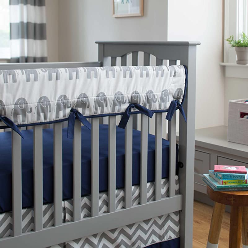 Carousel Designs Navy And Gray Elephants Crib Rail Cover