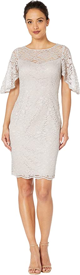Petite Lace Flutter Sleeve Cocktail Dress