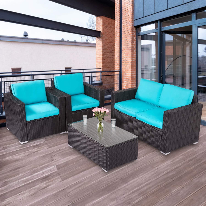 Kinbor 4 PCs Rattan Patio Outdoor Furniture Set Garden Lawn Sofa Sectional Set Black