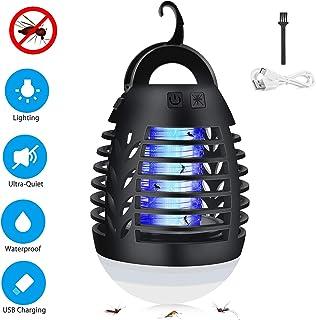CAMROOP Lámpara Antimosquitos Electrico,Portátil 2 en 1 Lámpara de Camping y Noche Lámpara LED,USB Recargable IP67 Impermeable Lámpara Anti Mosquitos Exterior y Interior