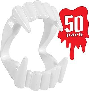 Kangaroo Toy Vampire Fangs for Kids, (50-Pack) Toy Fangs for Kids, White, Plastic