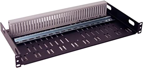 IRP20123S11 1U Rackmount DIN Rail Shelf with PVC Wire Duct Design for Industrial Standard 19 inch Relay or 4 Post Server Rack