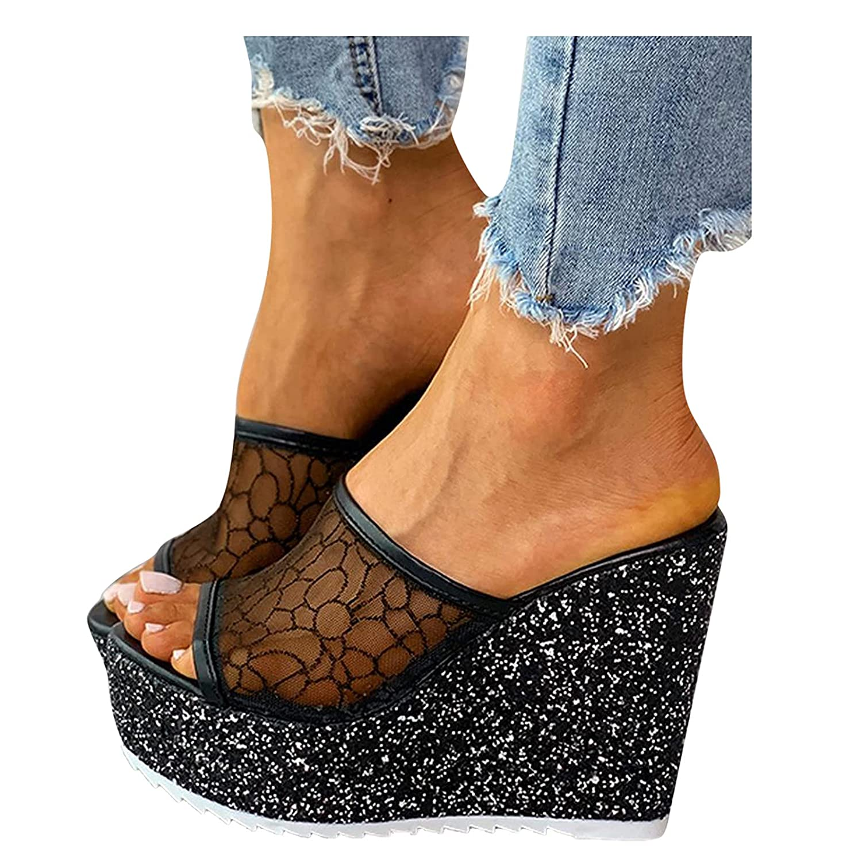 Padaleks Womens Wedge Platform Slide on Sandals Open Toe Shiny S