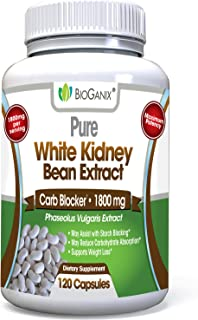 BioGanix Weight Loss Supplement with Pure White Kidney Bean Extract, 1800 mg, 120 Capsules
