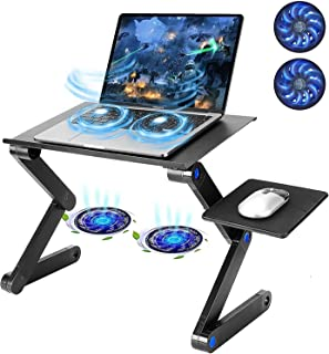 Sponsored Ad – YOMYM Laptop Table, Laptop Cooling Rack, Adjustable Aluminum Portable Stand, Dual Fan and Mouse Board, Univ...