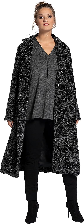 Ulla Popken Women's Plus Size Faux Persian Lamb Coat Dark Grey Melange 12 750755 11