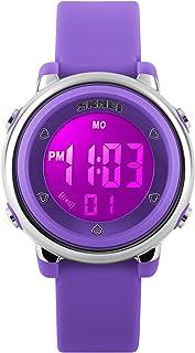 Kids Fashion Digital Sport Waterproof Chronograph Electronic Watches for Girls Purple