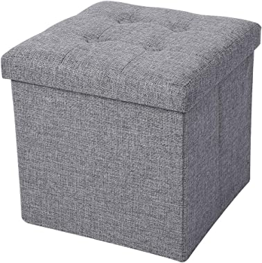 Foot Rest Stool, Portable Gray Foot Rest Seat, Space Saving Foldable Storage Stool for Home Bedroom Living Room Office