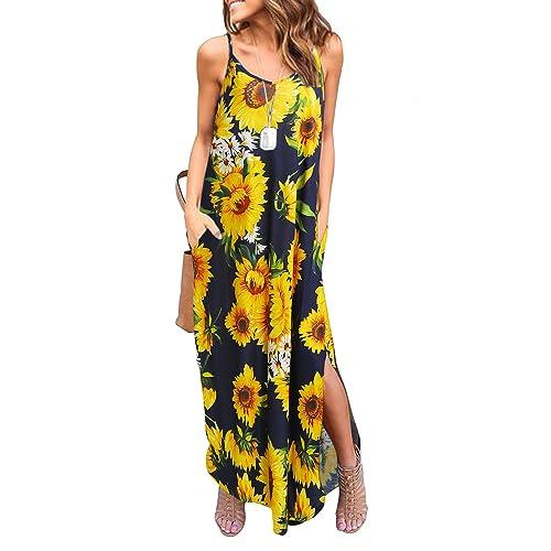 095ef388f05e HUSKARY Women's Summer Casual Pockets Strappy Long Dress Loose Beach Cami  Split Maxi Dress