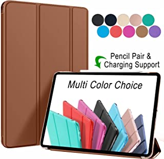 DuraSafe Cases For iPad PRO 12.9 - 3 Gen MTEL2LL/A MTEM2LL/A MTFN2LL/A MTFL2LL/A MTFP2LL/A MTFQ2LL/A MTFT2LL/A (Will Not Fit on PRO 12.9 2020) Ultra Slim Cover Supports Pencil Pair & Charging - Brown