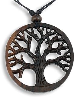 Island Piercings, collana con ciondolo in legno (albero della vita), regolabile, N267