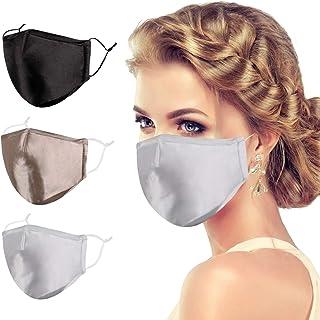 VWMYQ Silk Face Mask for Women Men Designer Adult Cloth Fashion Satin 3 Pack Cute Cubre Mascarillas Breathable Bocas Mesh ...