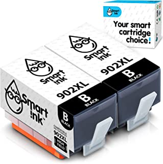 Smart Ink Compatible Ink Cartridge Replacement for HP 902 XL 902XL (Black, 2 Pack) with Advanced Chip Technology to use wi...