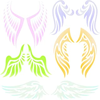 Angel Wing Stencil - 4.5 x 4.5 inch (S) - Reusable Christian Guardian Angel Wings Wall Stencil Template - Use on Paper Projects Scrapbook Journal Walls Floors Fabric Furniture Glass Wood etc.