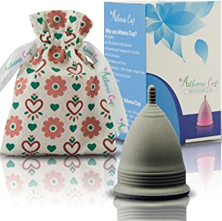 Athena Copa Menstrual – La copa menstrual más recomendada - Incluye una bolsa de regalo - Talla 1, Negro liso - ¡Ausencia de pérdidas garantizada!