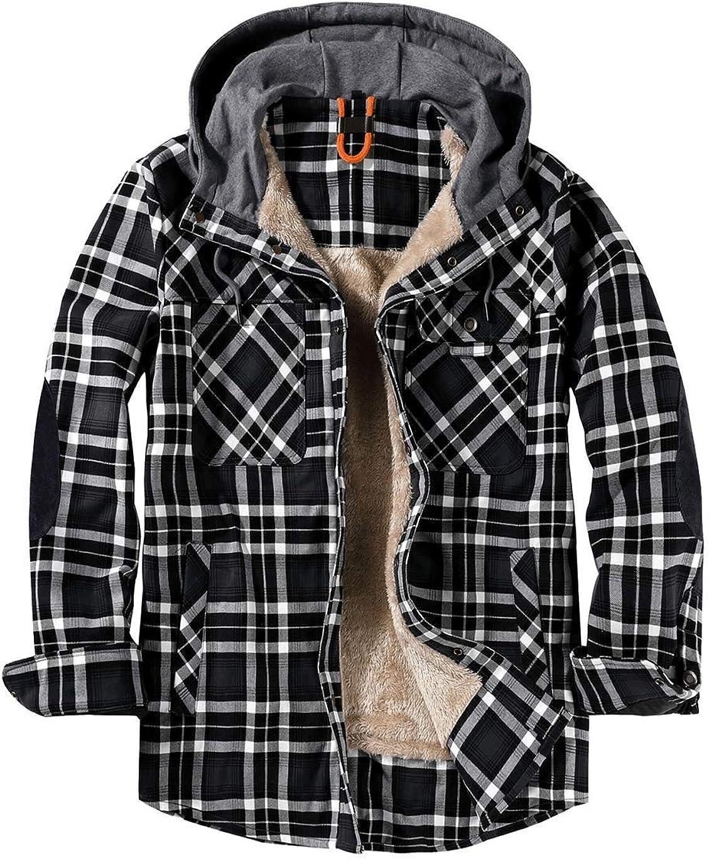 Haellun Men's Warm Thick Sherpa Fleece Lined Hooded Plaid Flannel Shirt Jacket
