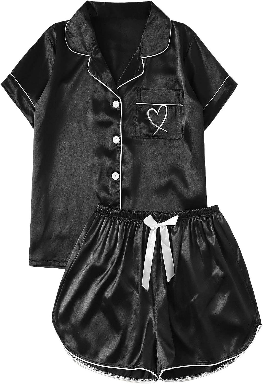 SOLY HUX Women's Short Sleeve Satin Sleepwear Button Down Shirt & Shorts Pajama Set