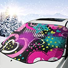 Valentines Day Colorful Hippie Heart Love Summer Windshield Snow Cover Ice Removal Wiper Visor Protector All Weather Winter Summer Auto Sun Shade for Cars Trucks Vans SUVs Stop Scraping with a Brush o