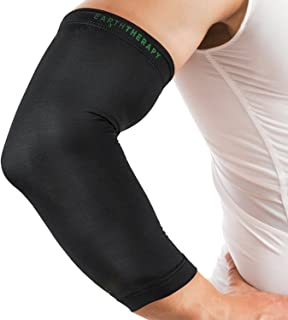 Earth Therapy Copper Elbow Compression Sleeve – Size Large, Unisex - Anti-Inflammatory Fabric for Natural Healing – Pain Relief and Support for Athletes