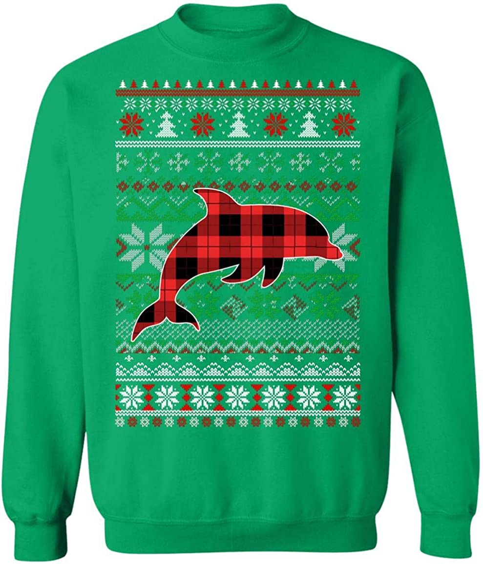VintageTee Dolphin Red Plaid Ugly Funny Genuine Free Shipping Gifts Christmas Sweater Virginia Beach Mall