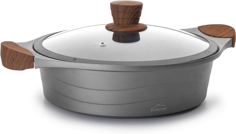 Lacor - 27327 - Cacerola Baja de cocina con tapa cristal Stilo, Compatibilidad: todo tipo de cocinas, incluida la inducción, Fabricada en Aluminio Fundido, Ecológica y libre de PFOA, 28cm
